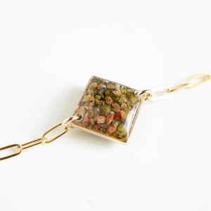 Load image into Gallery viewer, Unakite Square Bracelet
