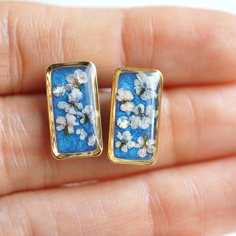 Blue Flower Bar Earrings