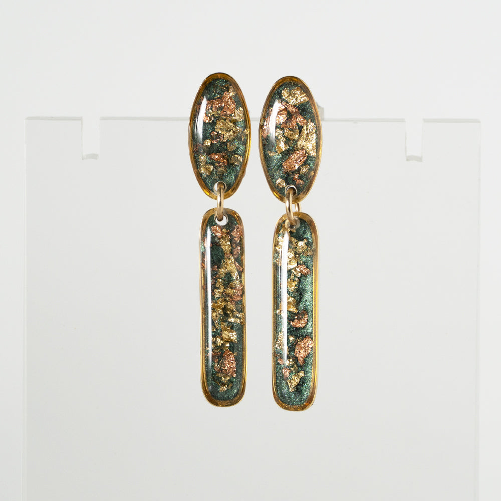 Statement Green Gold Long Earrings