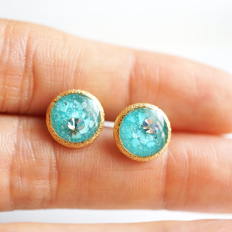Round Blue Earrings
