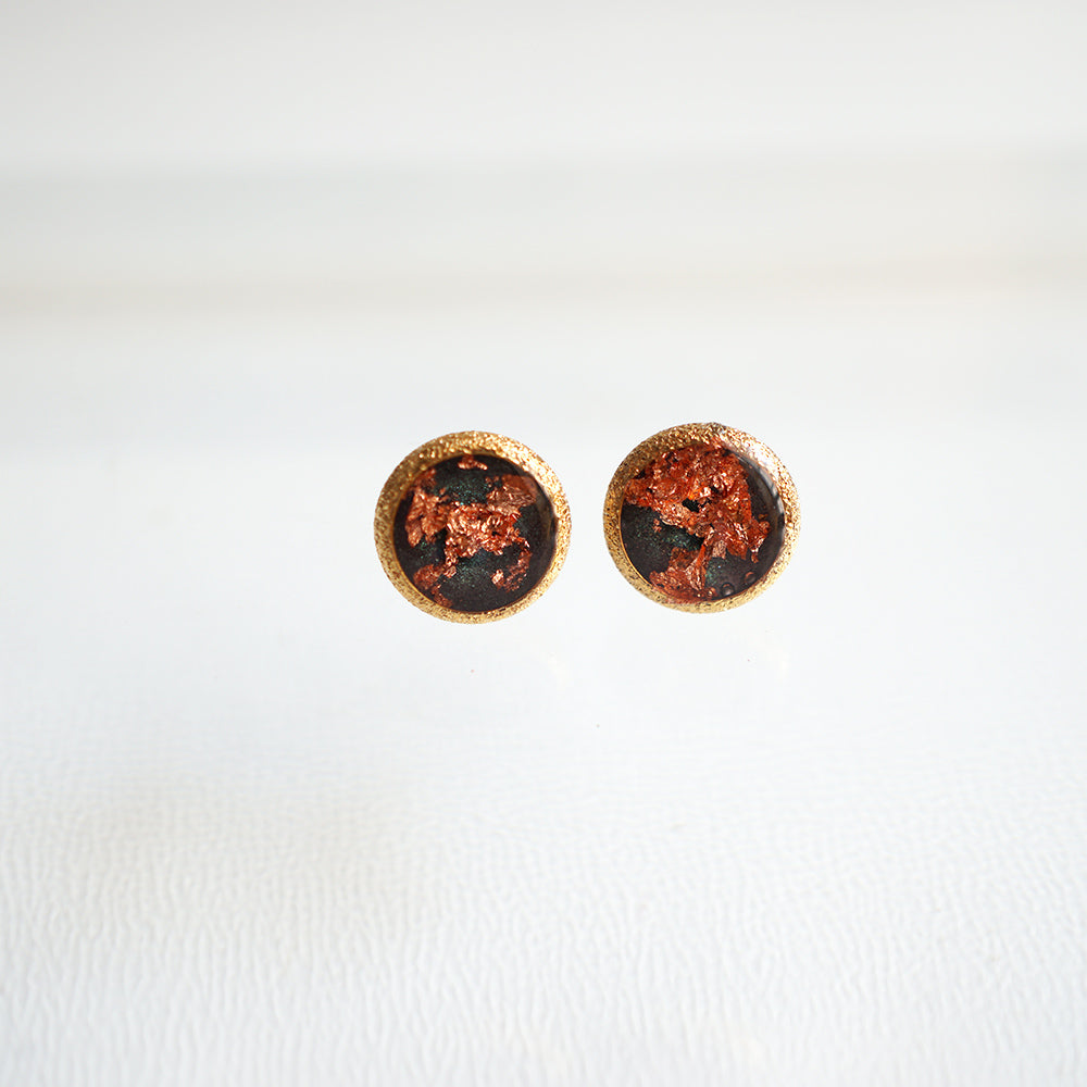 Round Earrings with Rose leaf