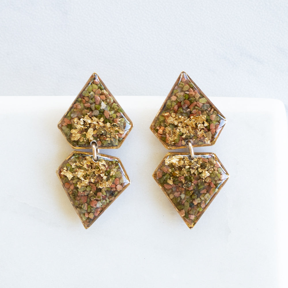 Dangling Geometric Unakite Earrings