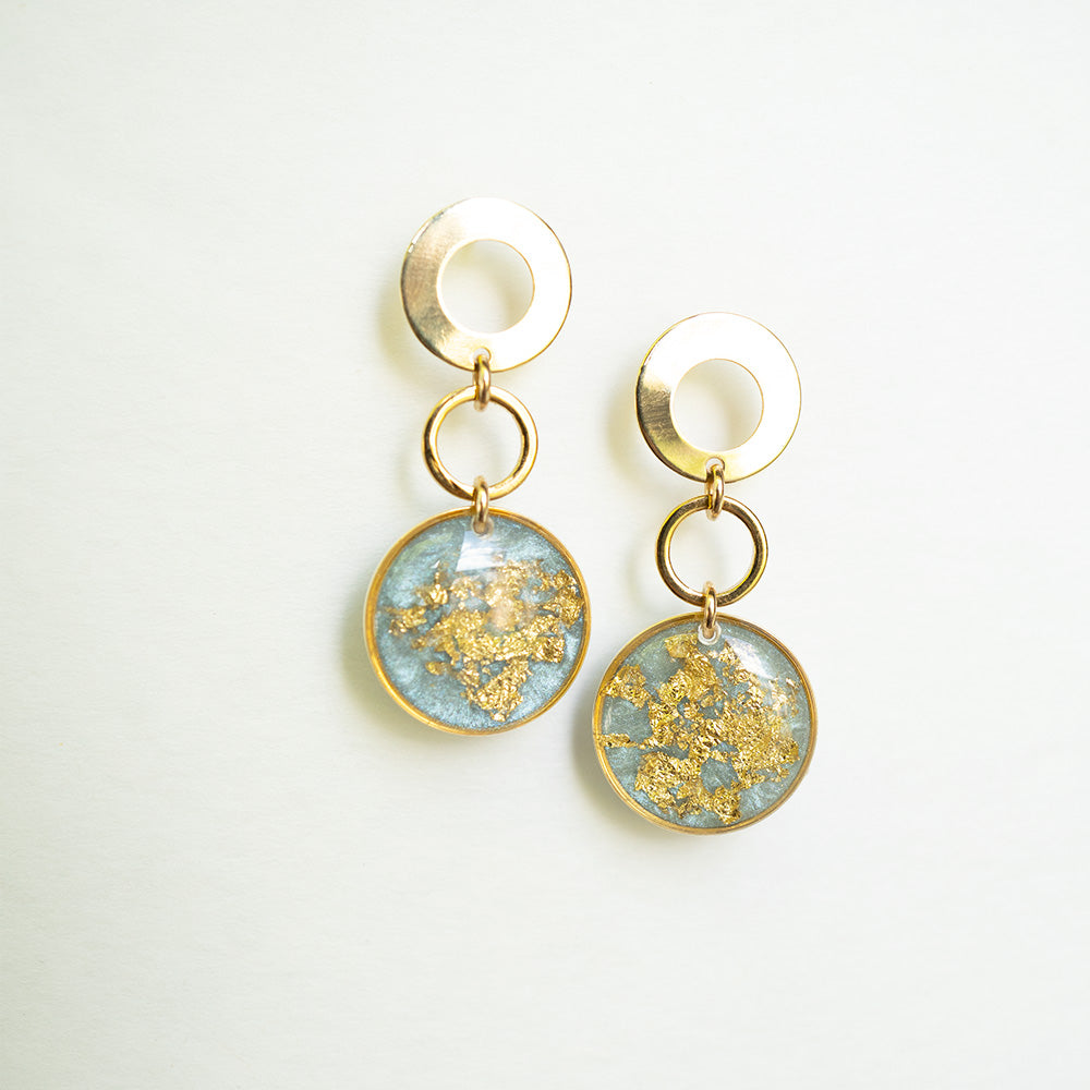 Dangling Light Blue and Gold Circles Earrings