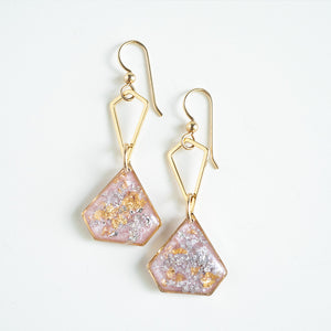 Dangling Sakura Geometric Earrings