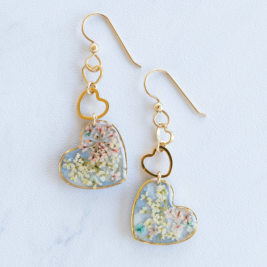 Dangling Hearts Flower Earrings