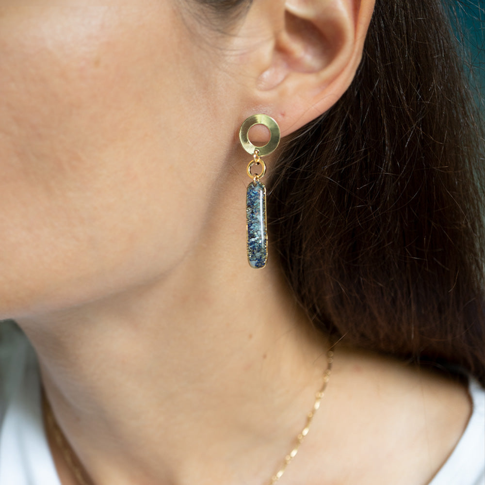 Dangling Long Bar Ocean mix Earrings