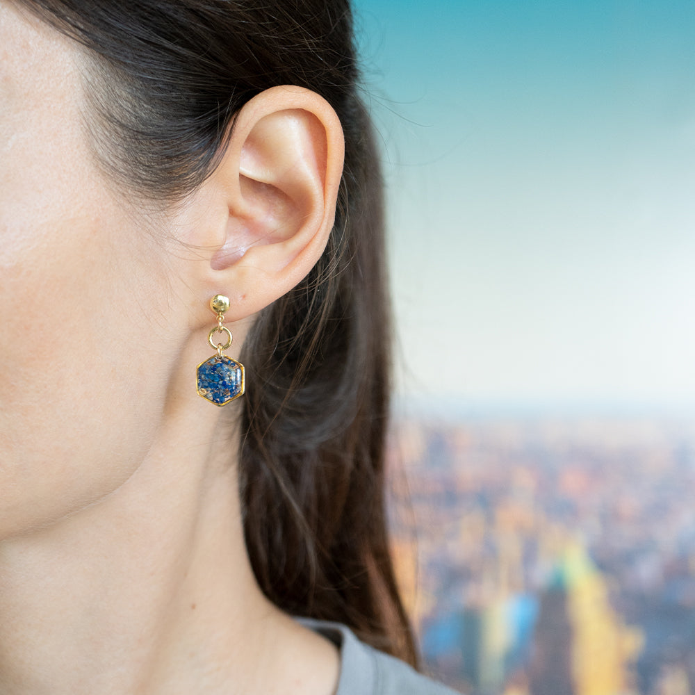 Load image into Gallery viewer, Dangling Hexagon Lapis Earrings