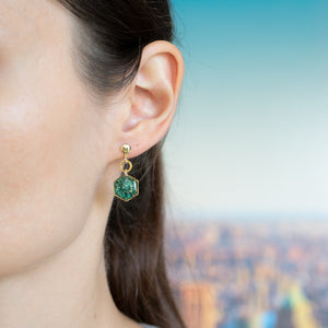 Dangling Hexagon Malachite Earrings