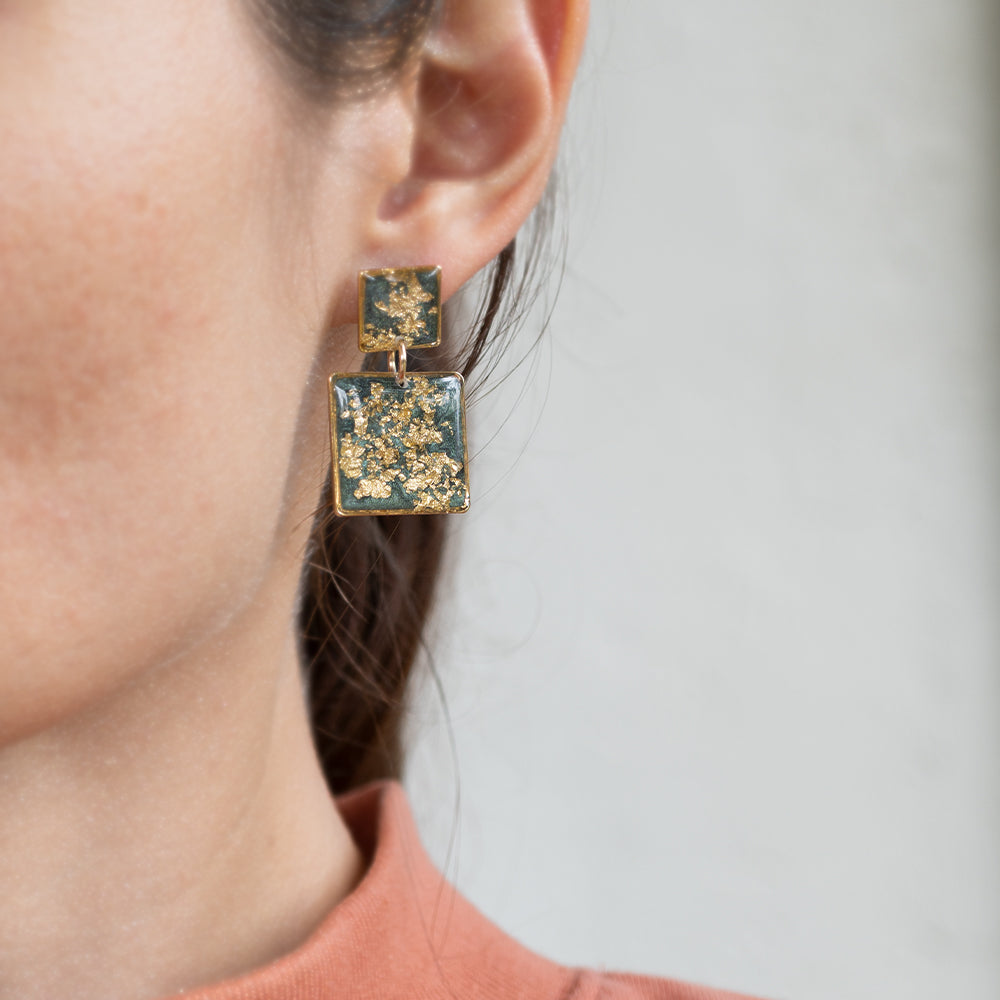Statement Square Green Gold Earrings