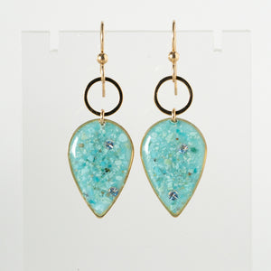 Load image into Gallery viewer, Dangling Turquoise Geometric Earrings