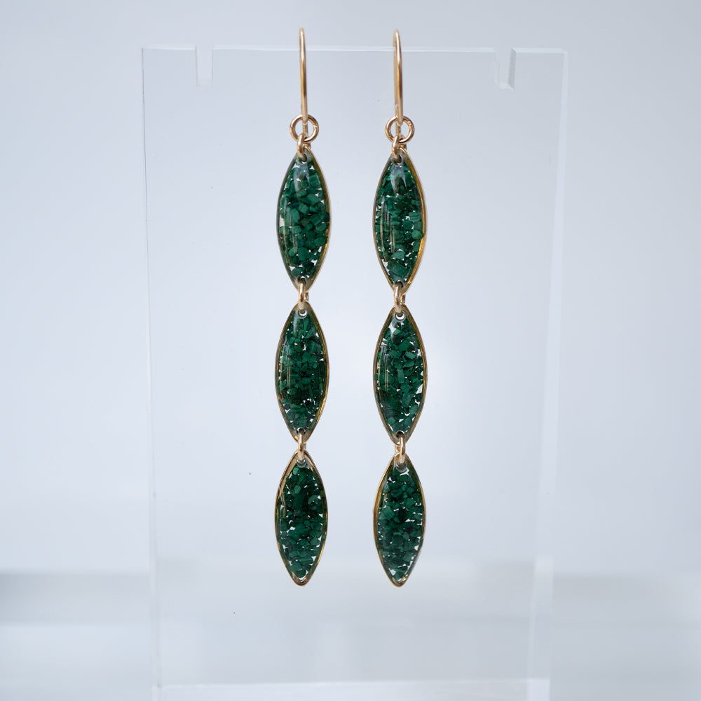 Oval Dangling Malachite Earrings