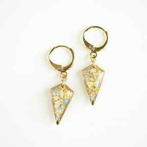 Dangling Light Blue and Gold Diamond Earrings