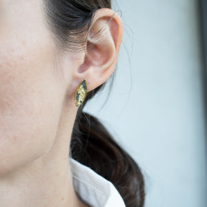 Triangle Green Earrings with Gold leaf