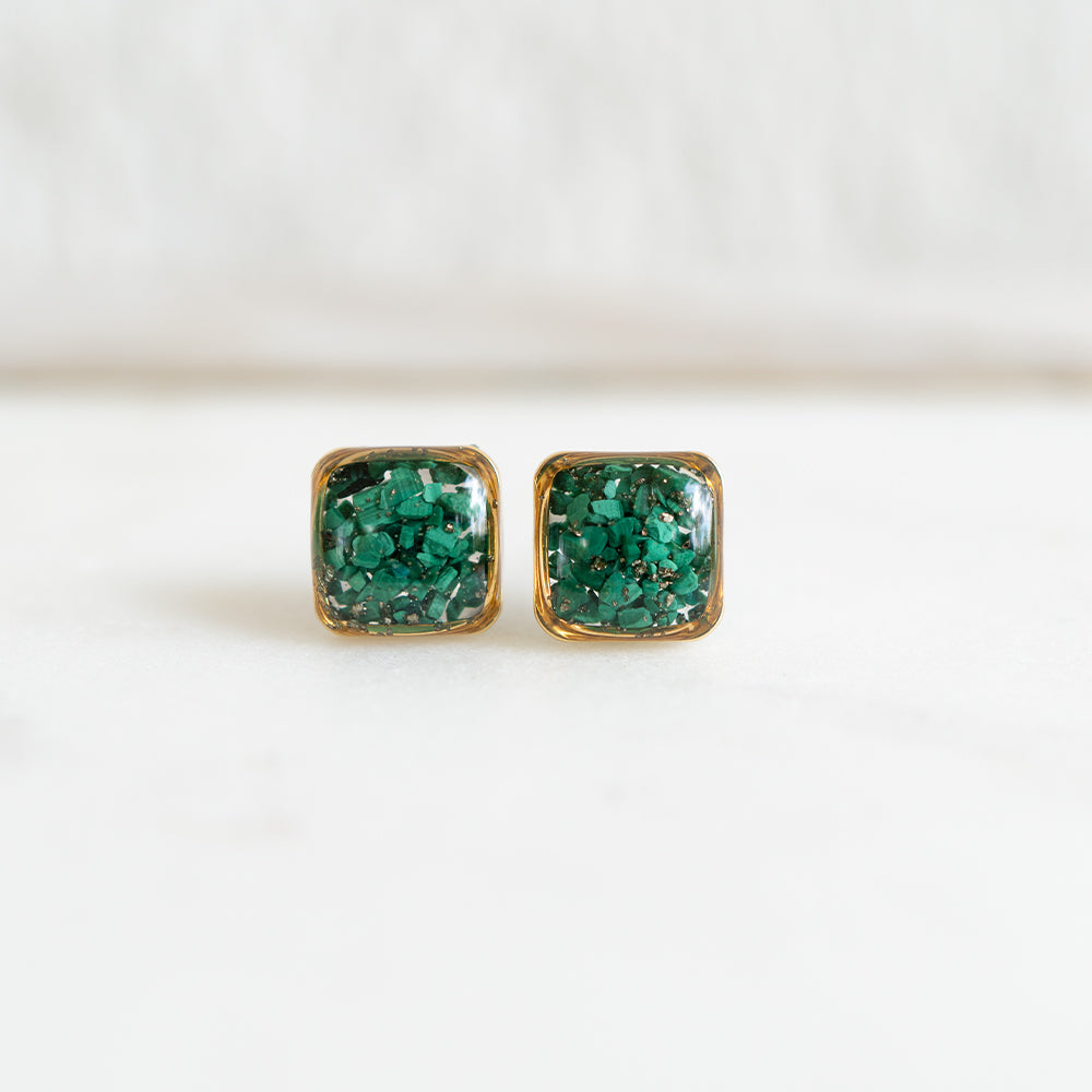 Malachite Square Earrings
