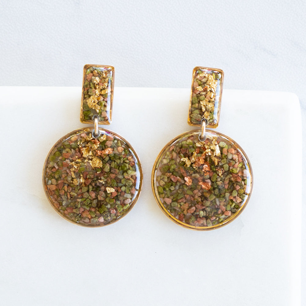 Dangling  Crushed Unakite Earrings