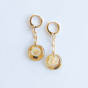 Dangling Pearl and Gold Earrings