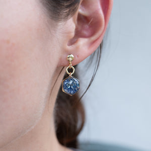 Dangling Hexagon Ocean mix Earrings