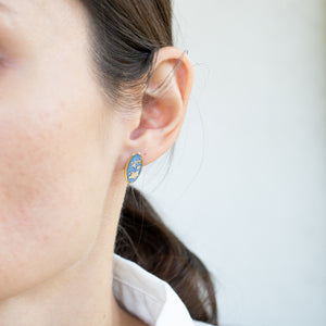 Light Blue and Gold Multi-shape Earrings