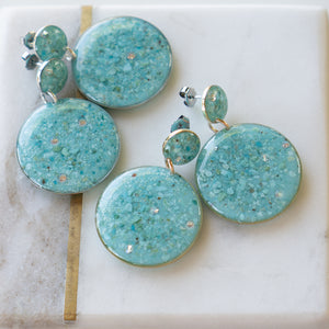 Load image into Gallery viewer, Blue Statement Earrings