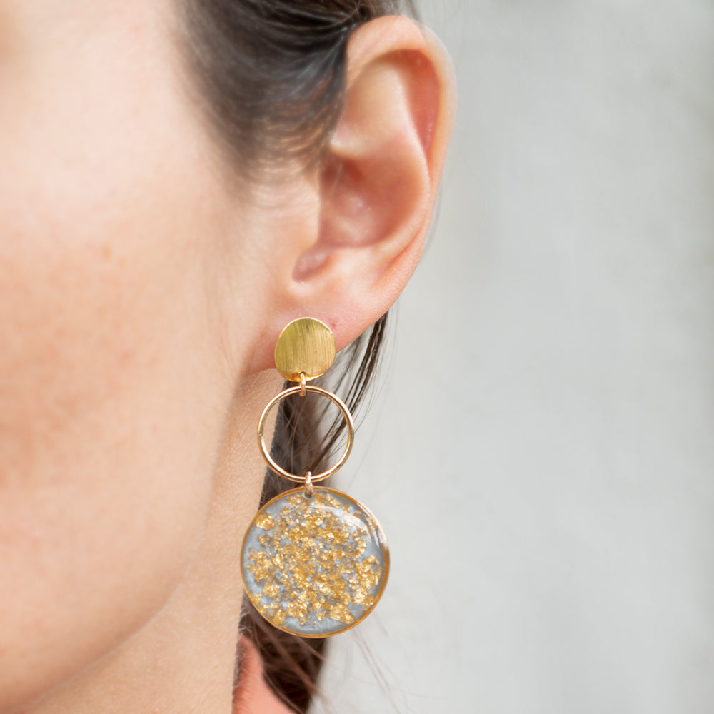 Dangling Light Blue and Gold Earrings