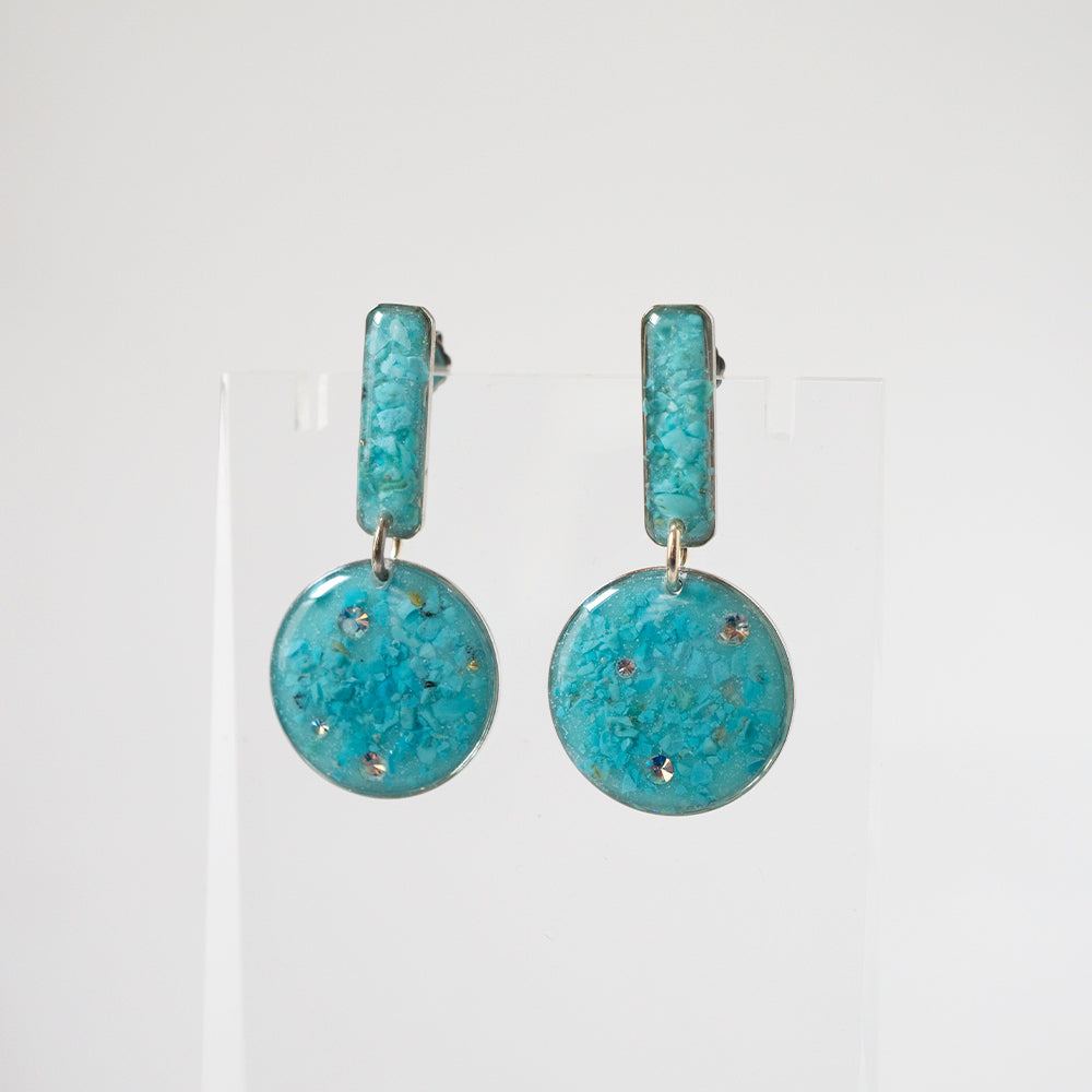 Blue Statement Circle Earrings