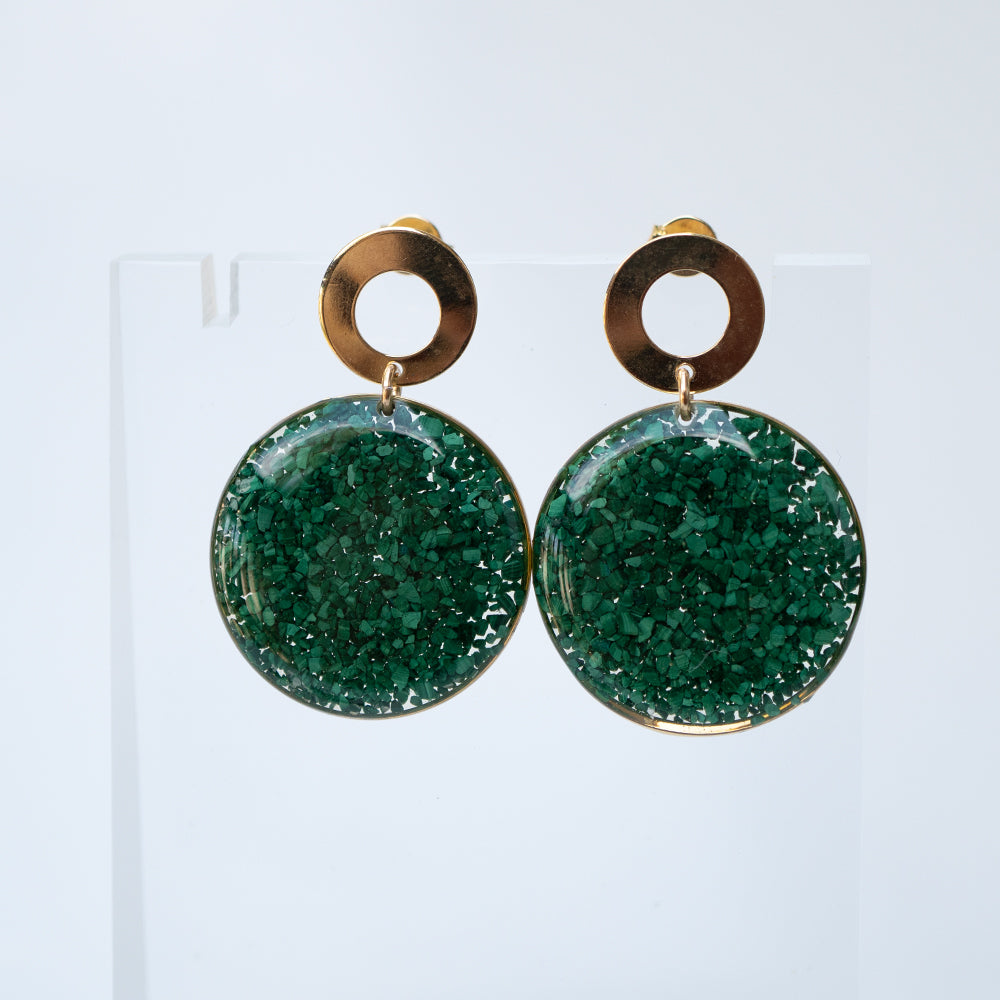 Load image into Gallery viewer, Dangling Green Statement Earrings