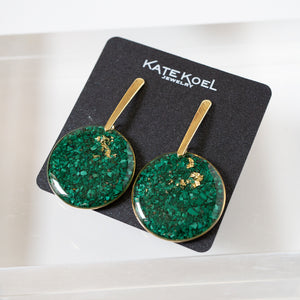 Malachite Statement Circle Earrings