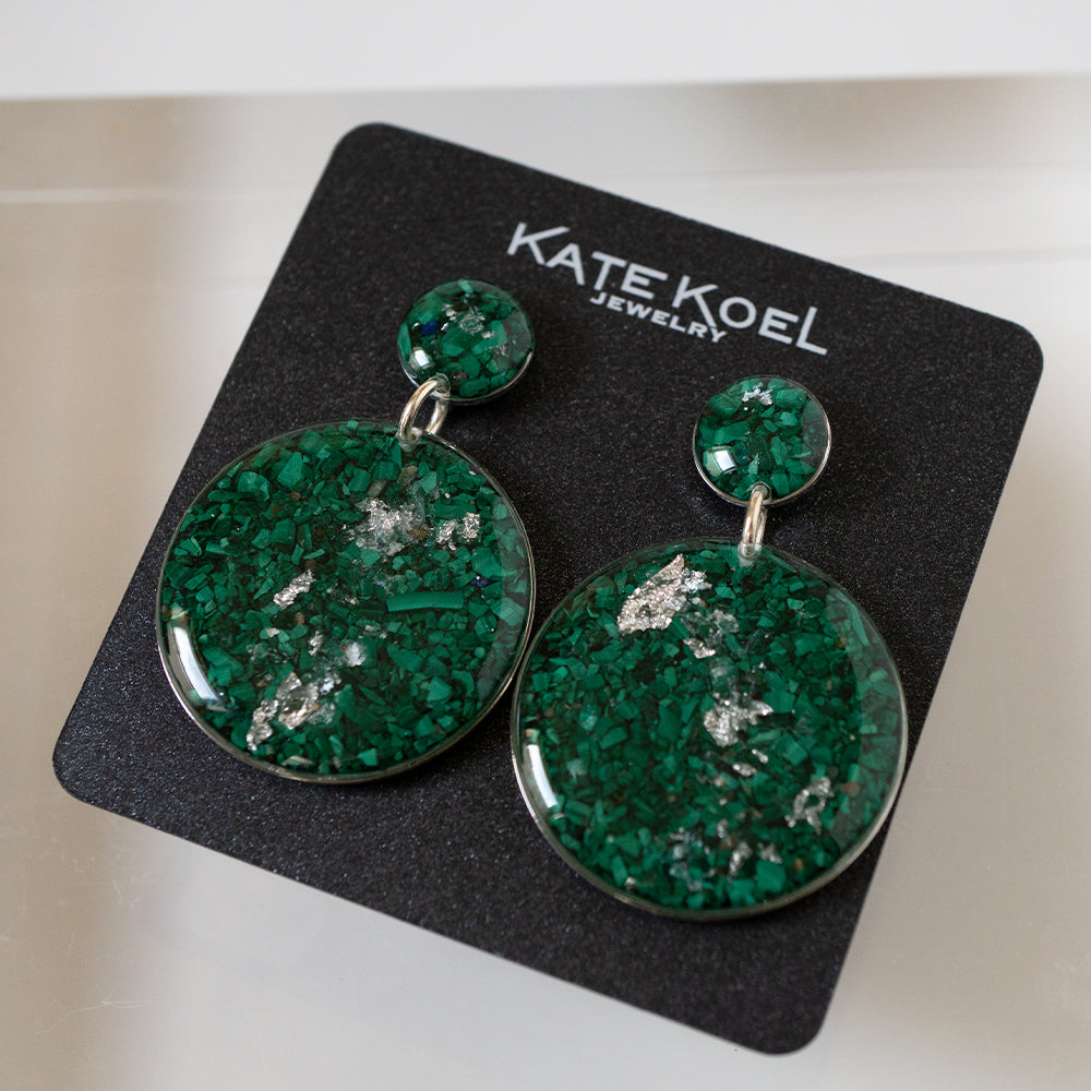 Malachite Statement Silver Earrings