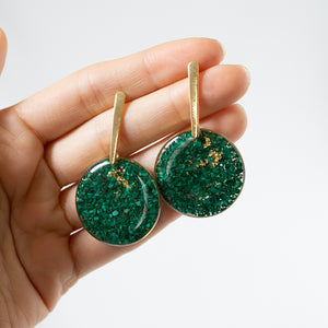 Load image into Gallery viewer, Malachite Statement Circle Earrings