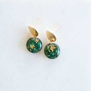 Short Dangling Malachite Earrings