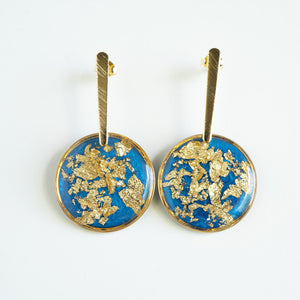 Dangling Circle Blue and Gold Earrings