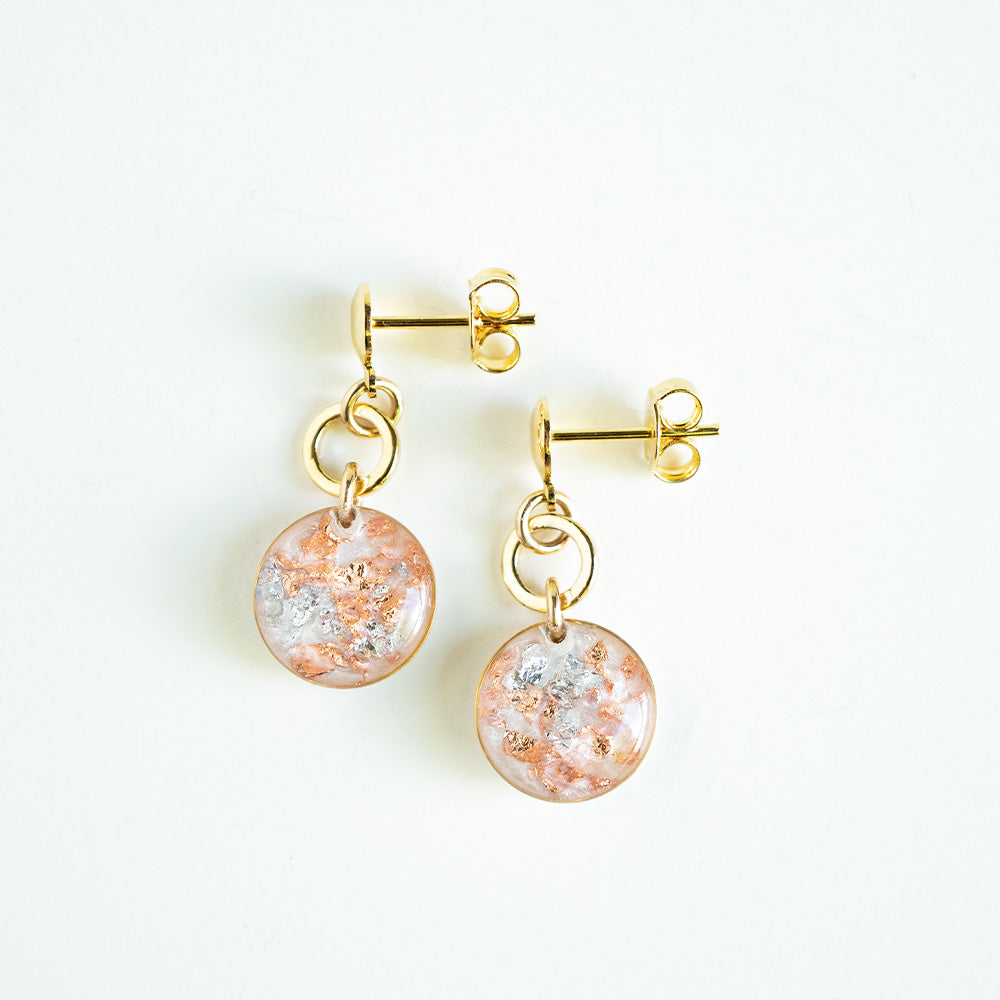 Small Dangling Pearl and Rose Earrings