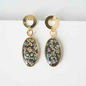 Dangling Oval Flower Earrings
