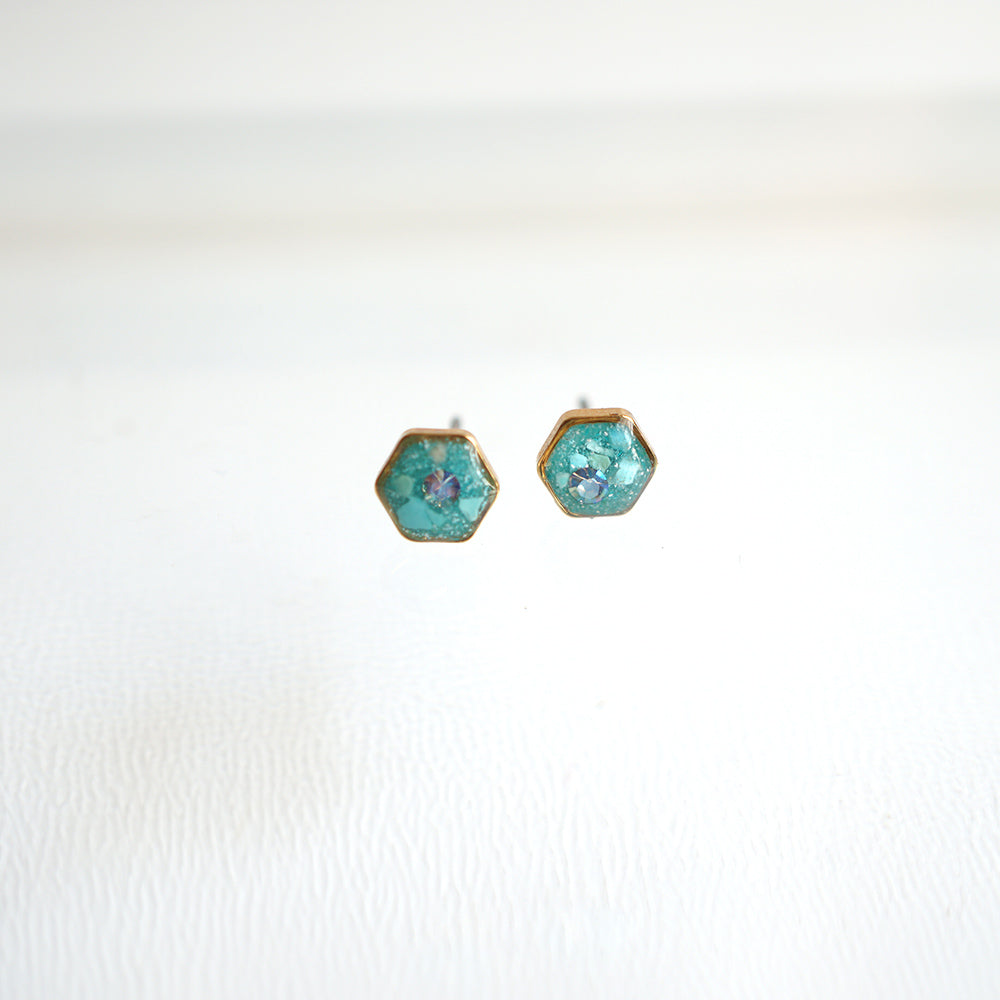 Load image into Gallery viewer, Small Hexagon Blue Earrings