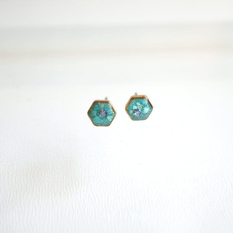 Small Hexagon Blue Earrings