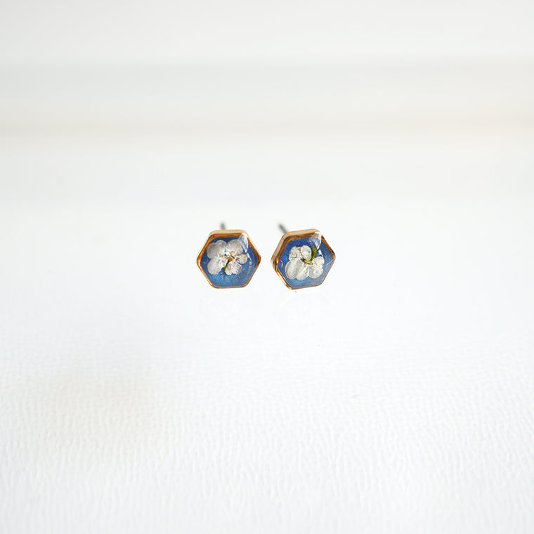 Blue hexagon flower earrings