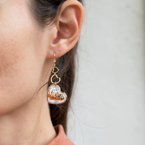 Load image into Gallery viewer, Dangling Multicolor Hearts Earrings