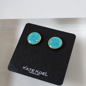 Large Round Blue Earrings