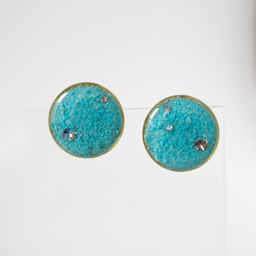 Load image into Gallery viewer, Large Round Blue Earrings