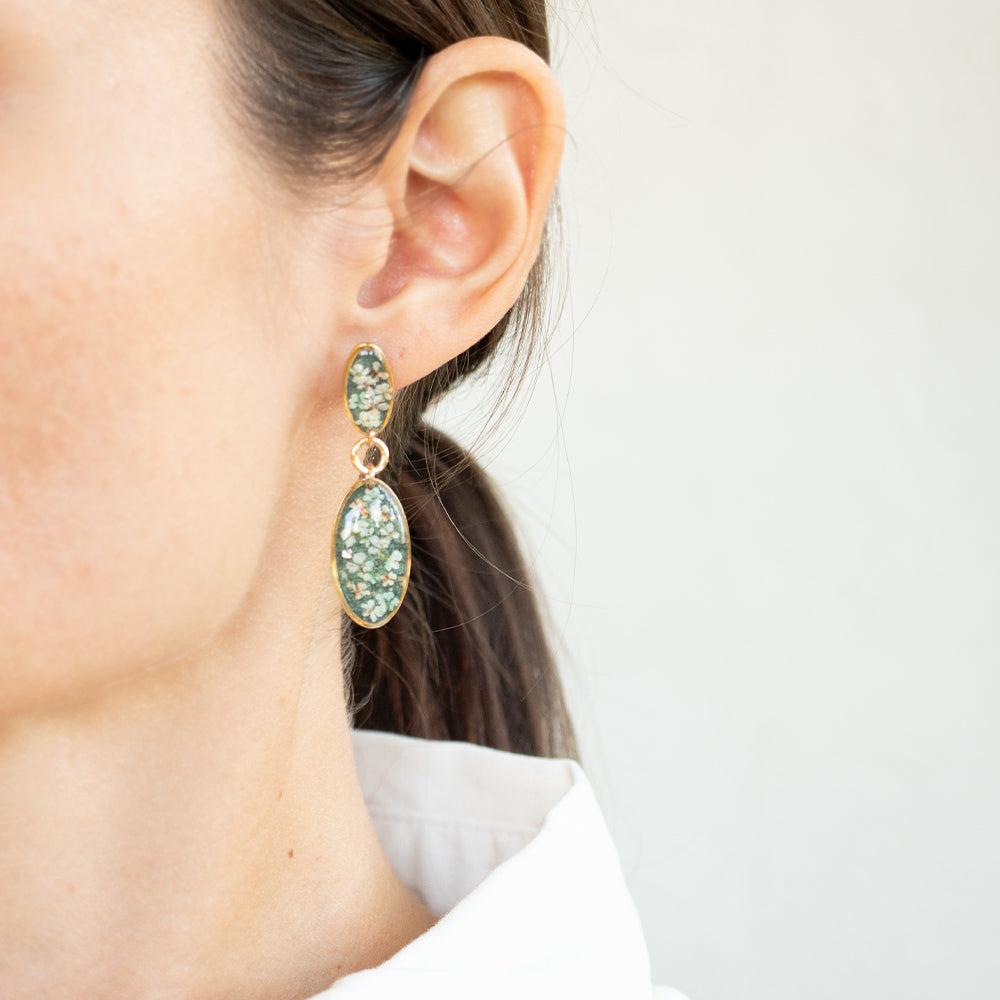 Statement Green Flower Earrings