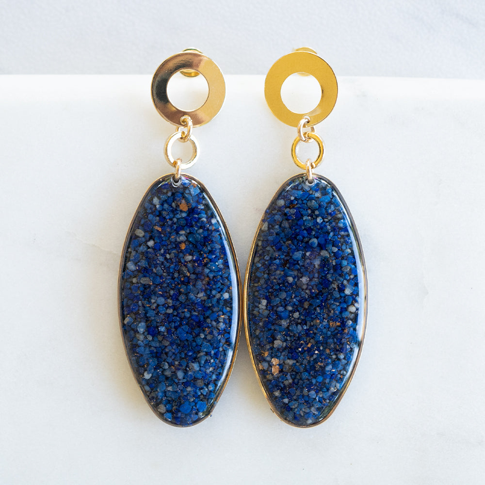 Load image into Gallery viewer, Statement Dangling Lapis Earrings