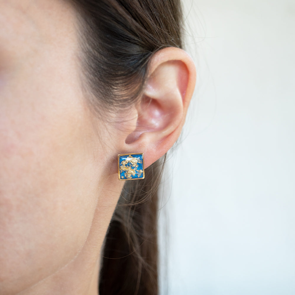 Blue Bar Earrings with Gold Leaf