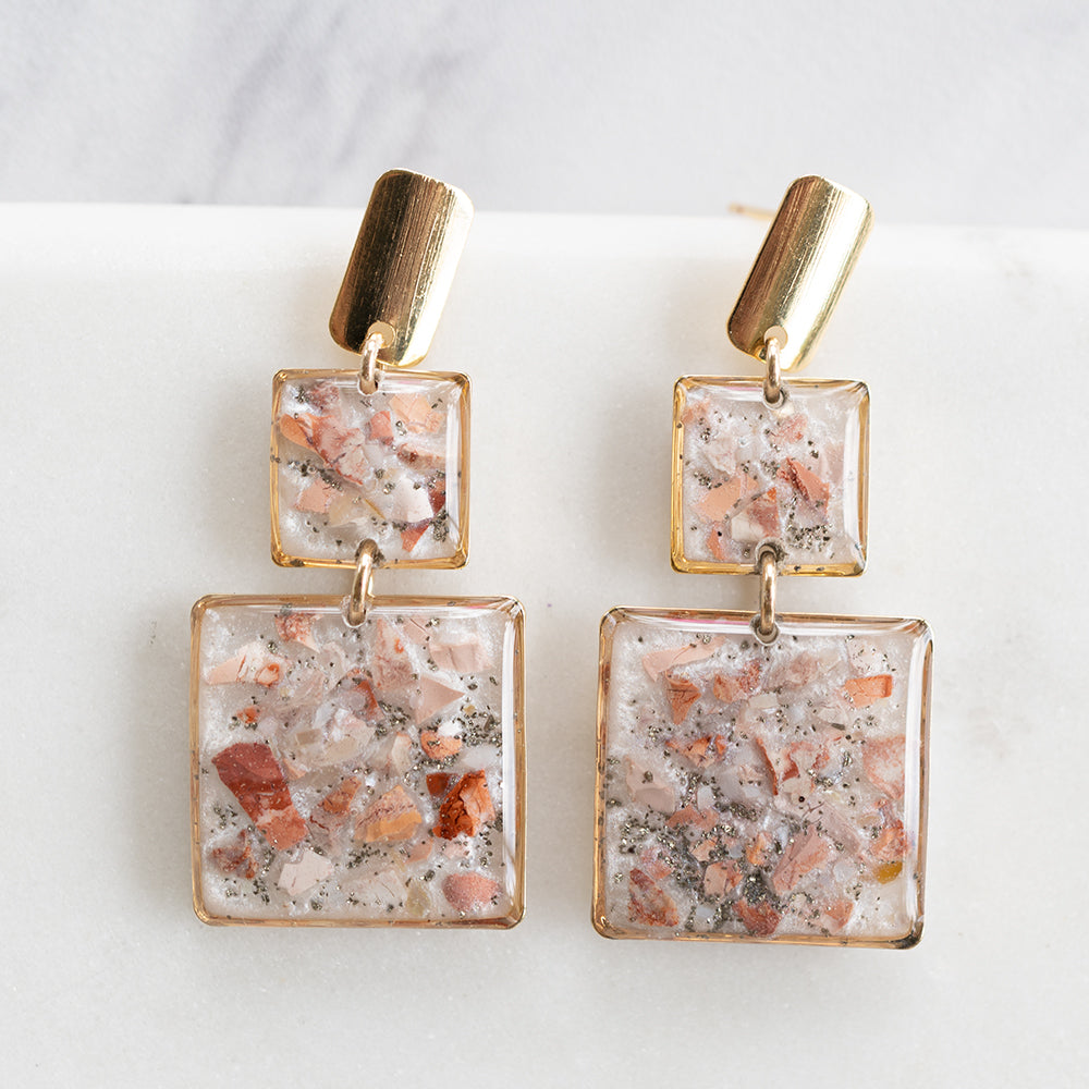 Jasper Dangling Square Earrings