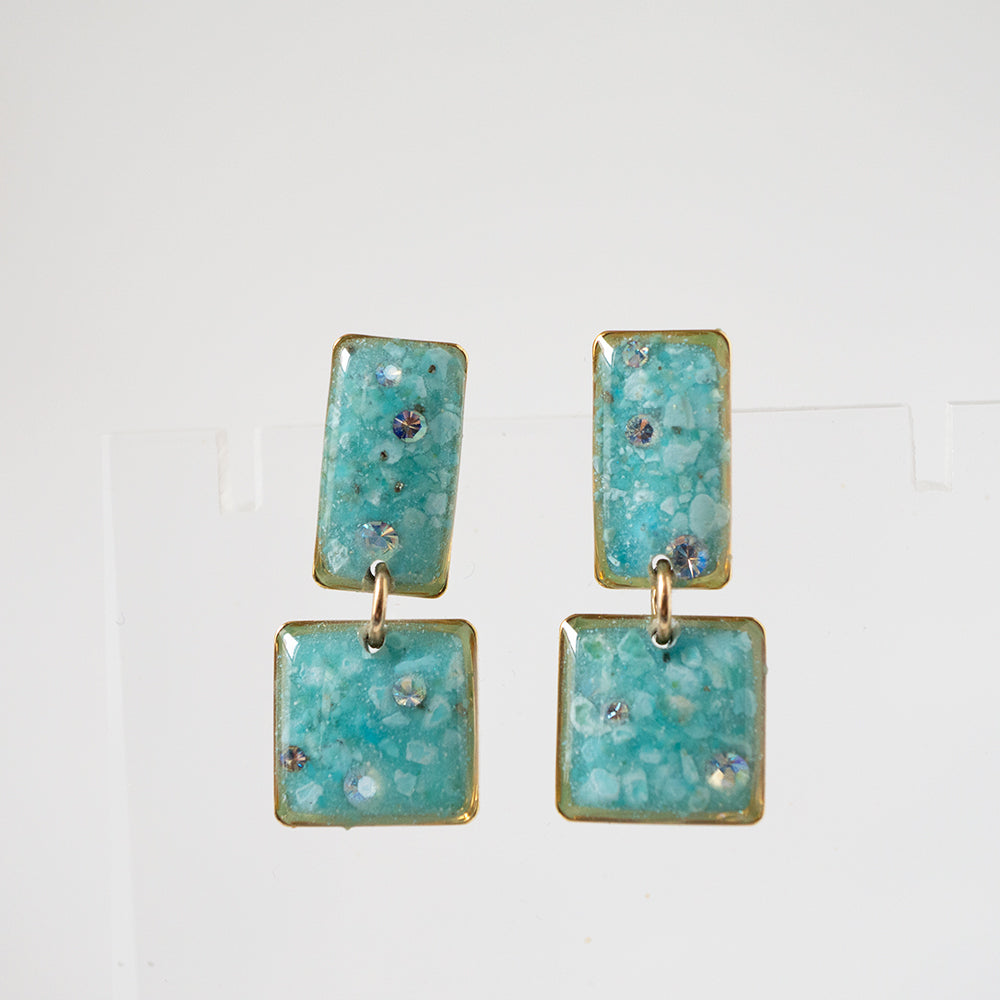 Square Blue Turquoise Earrings