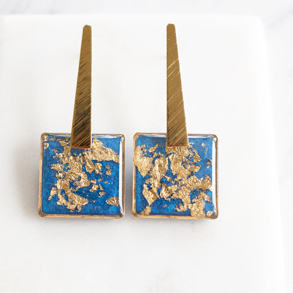 Dangling Square Blue and Gold Earrings