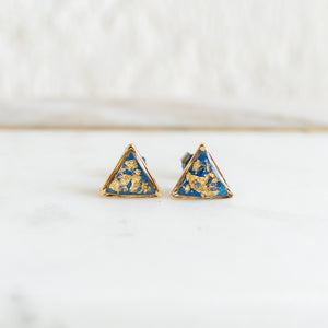 Bright Blue and Gold Earrings