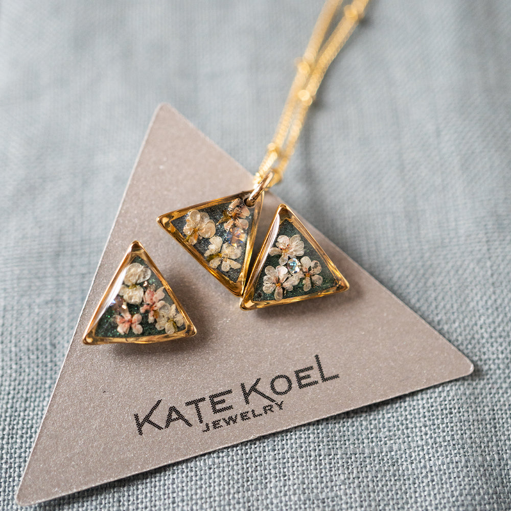 Triangle Flower Earrings