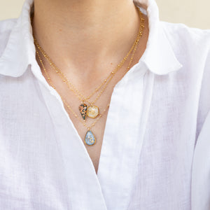 Pearl and gold Hexagon Necklace