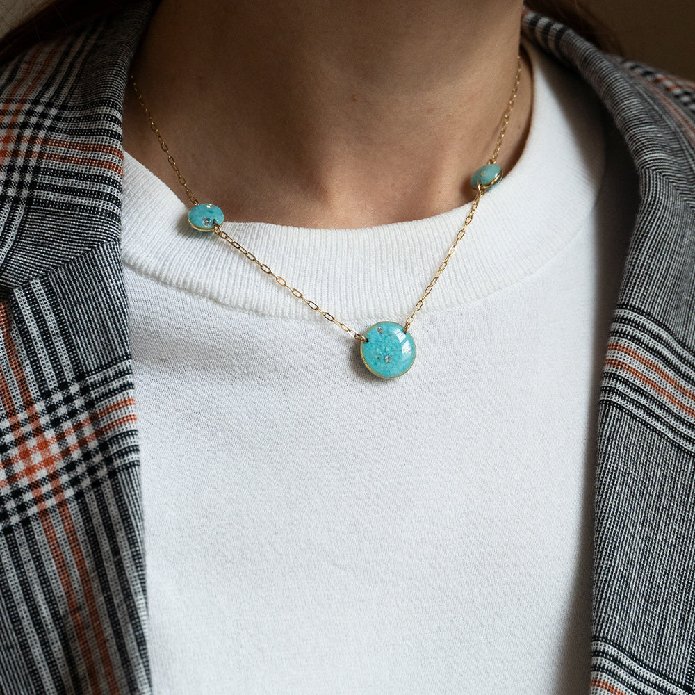 Blue Multi Circle  Necklace