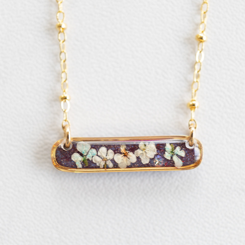 Load image into Gallery viewer, Flower Purple Bar Necklace